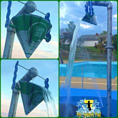 Our paint dept can replicate just about anything you come up with for your splash pad theme. Turned the dump bucket stem into an old galvanized pipe and the bucket we wanted an old oil can to go with this oil and gas themed splash pad in Sistersville, West Virgina
