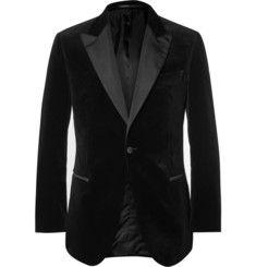Gieves & Hawkes Black Slim-Fit Velvet Tuxedo Jacket