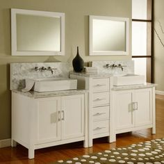 Shop for Direct Vanity Sink Horizon Pearl White/ Carrera Marble Double Bathroom Vanity Sink Console. Get free delivery On EVERYTHING* Overstock - Your Online Furniture Outlet Store! Get in rewards with Club O! Double Sink Bathroom, Double Sink Vanity, Vanity Set With Mirror, White Vanity, Bathroom Sink Vanity, Master Bathroom, White Bathroom, Bathroom Cabinetry, Double Sinks