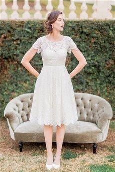 A-Linie/Princess-Linie Juwel-Ausschnitt Knielang Spitze Brautkleider