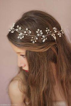 Diadema perla boda cabello vid Halo nupcial por FabulousBrides