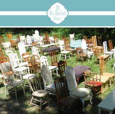 mis-matched chairs for outdoor rustic wedding ceremony - how fun! Barn Dance Party, Mad Hatter Wedding, Diy Wedding Inspiration, Wedding Ideas, Diy Outdoor Weddings, Cheap Adirondack Chairs, Ceremony Seating, Wedding Chairs, Alternative Wedding