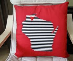 """State Pillow Cover w/ heart 14""""- Choose your Color & State / City / Country -  novelty cotton throw applique stripe felt"""