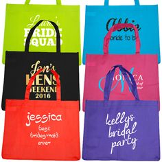 Custom and Personalised Hens Party Tote Bags 6 Packs, Maid, Reusable Tote Bags, Budget, Bridal, Party, Prints, Bride, Printed