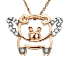 "XPY 10k Rose-Gold Diamond Flying Pig (0.10 cttw, I-J Color, I2-I3 Clarity), 18"" Amazon Curated Collection. Save 64 Off!. $179.00. Made in China. All our diamond suppliers certify that to their best knowledge their diamonds are not conflict diamonds. The total diamond carat weight listed is approximate. Variances may be up to .01 carats."