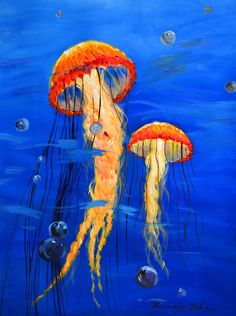 Glow Jelly Fish Pair Painting on Canvas. 16in x 20in by Kanayo Ede