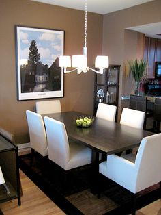 ksek: Parson's chairs  Taupe walls paint color, espresso dining table, crystal chandelier and ...