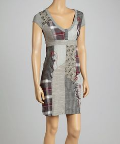 Look at this #zulilyfind! Gray Patchwork Cap-Sleeve Dress #zulilyfinds