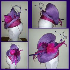 Pink & Purple by LEAH ROBINSON #millinery #HatAcademy #hats