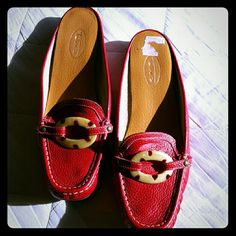 Red Leather Talbots Mules Very gently worn  red leather mules with contrast tortoise she'll buckles. Very faint marking where buckle rubs against leather. Talbots Shoes Flats & Loafers