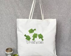 Grocery bag play on words funny shopping bag. Hand stamped reusable shopping bag with free motion applique accent.