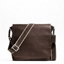 COACH HERITAGE WEB LEATHER MAP BAG - dark brown