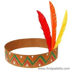 THANKSGIVING NATIVE AMERICAN HEADBANDS: Large Feathers (Red, Yellow, Orange & Green), Hot Glue Gun, Brown Construction Paper, Paint (Red, Orange, Yellow & Green), Paint Brushes