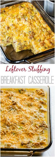 Put that leftover sausage stuffing to a good use and make this delicious breakfast casserole. You only need 4 ingredients and it feeds a crowd! #leftoverstuffing #ThanksgivingLeftoverRecipes #breakfastcasserole via @shineshka