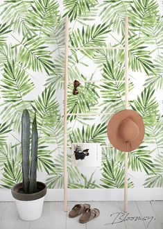 Removable wallpaper - Exotic Leaves Wallpaper - Wall mural - Tropical Wallpaper - Self adhesive wallpaper - Temporary wallpaper - Mural - Room - Photopraphy Wallpaper Wall, Temporary Wallpaper, Wallpaper Samples, Self Adhesive Wallpaper, Leaves Wallpaper, Washable Paint, Tropical Wallpaper, Cleaning Walls, Watercolor Leaves