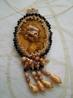 Beaded Polymer Clay Cameo by Social Butterfly Jewellery, via Flickr