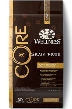 Wellness CORE Natural Dry Grain Free Puppy Food, Chicken & Turkey, 26-Pound Bag. GRAIN FREE: 100% grain free, complete and balanced everyday nutrition for your puppy. PUPPY FORMULA: Naturally grain free, protein rich, made with premium chicken, turkey & salmon with the calories and DHA needed for healthy development in puppies. ALL NATURAL: Contains only premium, all natural ingredients with no wheat, corn, soy, meat by-products, or artificial colors, flavors and preservatives. MADE IN USA…