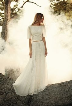 Dreamy two piece wedding dress - super on trend and stylish, yet extremely classy and timeless. We love this bohemian and elegant take on the skirt and top dress, courtesy of Dreamers & Lovers.