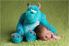 Newborn, newborn boy, newborn posing, newborn portrait, newborn photography, newborn baby pictures, newborn photography session. Monsters inc and newborn, sully, Monsters Inc baby www.CallieHardmanPhotography.com