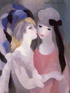 'The Kiss' - Oil - By Marie Laurencin - French Painter Art And Illustration, Art Lesbien, Art Eras, Art Français, Lesbian Art, Georges Braque, Art Database, Fine Art, French Art