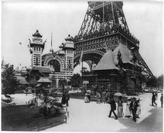 [Chalet Simard, Pavilion of Bolivia, and the Pavilion of Nicaragua, with base of the Eiffel Tower, and in the far background, a hot air balloon, Paris Exposition, 1889]
