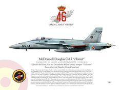 Hornet EF-18A+ C-15 Ala N°46 JP-664 Ala N°46, Escuadrón 462 de caza y ataque (Halcones) Base Aérea de Gando (Gran Canarias)