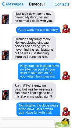 Superhero text posts | Daredevil, Spider-Man, and Mysterio