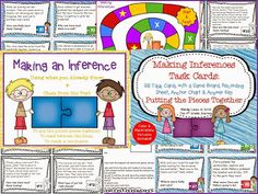 Making Inferences Task Cards, Game Board, & Anchor Chart