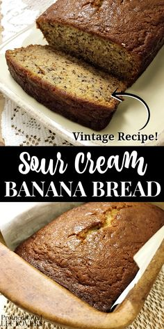 A delicious homemade Sour Cream Banana Bread Recipe. Don't toss your old bananas! Instead use brown bananas to make this tasty quick bread. Banana bread is good for breakfast a snack or dessert. Recipes Using Sour Cream, Sour Cream Desserts, Homemade Sour Cream, Recipes Using Bananas, Sour Cream Uses, Sour Cream Banana Bread, Easy Banana Bread, Easy Bread, Super Moist Banana Bread Recipe With Sour Cream