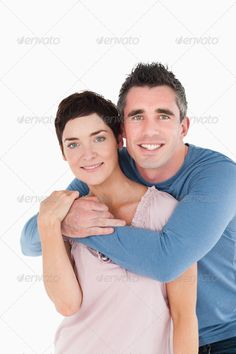Portrait of a man embracing his wife ... 25-29 years, 35-39 Years, Caucasian appearance, Mid Adult Women, Two People, Young Men, affectionate, attractive, back, background, beautiful, beauty, casual, closeup, couple, cute, elegant, embrace, feeling, flirt, handsome, happiness, happy, hug, isolated, joyful, love, lovers, man, models, modern, portrait, pose, posing, pretty, relationship, romance, shot, smile, stand, standing, studio, style, together, togetherness, up, white, woman