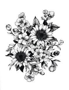 Imagem de flowers, art, and drawing