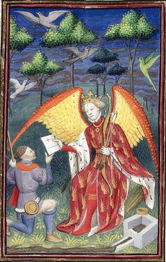 Detail of a miniature of the God of Love presenting a 'royal letter' to a messenger (f°51). -- «The Book of the Queen», by Christine de Pizan, Paris (France), ca 1410-1414 [BL Ms Harley 4431] -- See also at: http://www.bl.uk/manuscripts/FullDisplay.aspx?ref=Harley_MS_4431