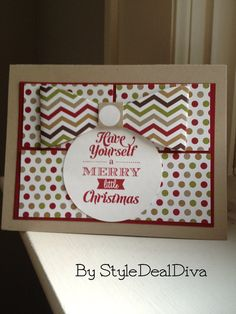 Have Yourself a Merry Little Christmas card by StyleDealDiva, $3.00 Made using Stampin' Up!'s Season of Style designer paper, ink, circle Framelit, the Gift Bow Bigz L Die die cut and a stamp.