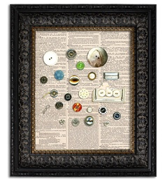 VINTAGE BUTTON COLLAGE dictionary book page art print on vintage dictionary page 8x10. $9.00, via Etsy.