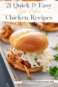 If you are looking a dinner that is so simple yet will get your family and friend scrambling for a seat at the dinner table, why not try this Slow Cooker BBQ Pulled Chicken? Serve it up as sandwiches, tacos, nachos or anything you can dream up! Slow Cooker Bbq, Slow Cooker Chicken, Slow Cooker Recipes, Cooking Recipes, Crockpot Recipes, Gourmet Recipes, Dinner Recipes, Slow Cooking, Recipe Using Chicken
