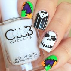 Reposting this Halloween  Jack Skellington Nails cause for some reason the video I posted is not playing  I used polishes from @hbbeautybar @opi_products Black Onyx  @colorclubnaillacquer French Tip  @chinaglazeofficial  Drink up Witches  Details hand painted with Black Acrylic  paint  @glistenandglow1 Hk Girl top coat  SongThis is Halloween-The Nightmare before Christmas Soundtrack #3