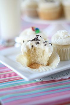 Mini cream cheese vanilla bean cupcakes with vanilla buttercream