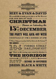 Christmas invitation brown