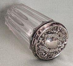 Sterling Silver Top Dresser Jar Violets Art Nouveau