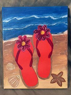 Hand Painted Flip Flops on Beach Acrylic on Canvas 8x10 Summer Ocean Beach Fun