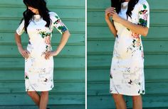 The cream colored sheath floral dress is the perfect addition to your summer wardrobe! Only $25.99!