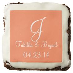 Wedding Coral Durable Color Matched Square Brownie