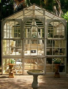 A Trip to the Salvage Yard goes a long way.  This gem  is made from recycled glass doors and windows.  Read more: 'She Sheds' Are the New Man Caves | PureWow National