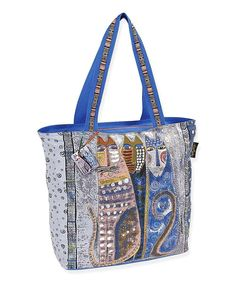 """The Autumn Felines Large Square Tote offers lots of room for your personal items. It is made of cotton canvas and is 21"""" x 6.5"""" x 15"""". The strap length is 27."""" The top Closure is a zipper and the insi"""