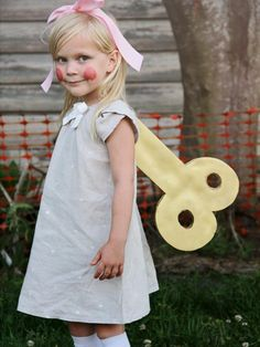 DIY Network shares instructions on how to turn your little one into a real life vintage wind-up doll for Halloween. All you need is a bit of cardboard, spray paint, elastic and glue.