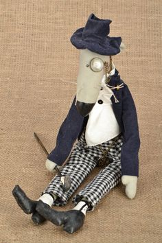 "Fabric toy ""Rat with a Monocle"""