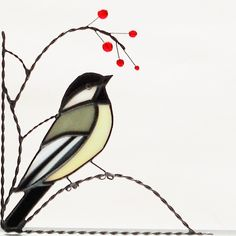 chickadee / stained glass window corner / bottom left by GLASSCORNER on Etsy https://www.etsy.com/listing/181837447/chickadee-stained-glass-window-corner
