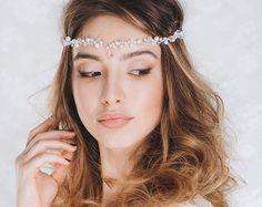 Bridal Hair Vine, Wedding Pearl Crown, Bridal Headband, Bridal Pearl Headpiece, Wedding Tiara, Bridal Hair Vine, Boho Headpiece