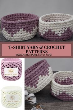 Crochet basket pattern in PDF with crochet instructions. Crochet bowl pattern, easy DIY pattern for beginners from bulky tshirt yarn - Wiezu Diy Crochet Basket, Crochet Bowl, Diy Crafts Crochet, Crochet Basket Pattern, Crochet Yarn, Easy Crochet, Crochet Stitches, Crochet Hooks, Crochet Basket Tutorial