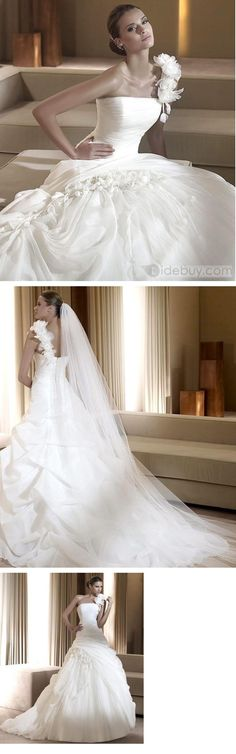 Gorgeous One-Shoulder Organza Ruffle Ball Gown Wedding Dresses